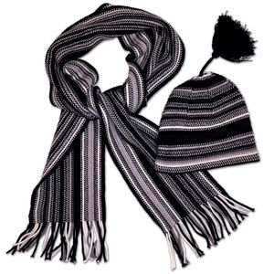 Cute striped winter hat and matching scarf